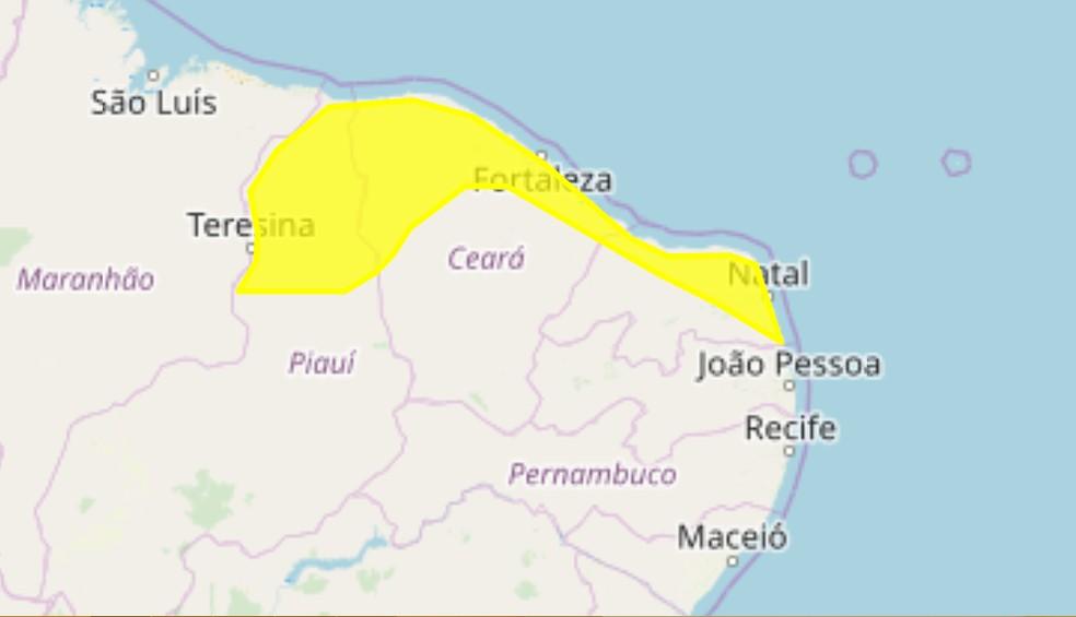 """Alerta amarelo do Inmet com """"perigo potencial"""" para cidades do Nordeste — Foto: Reprodução/Inmet"""