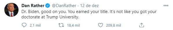 Dan Rather (foto: reprodução / Twitter @danrather)