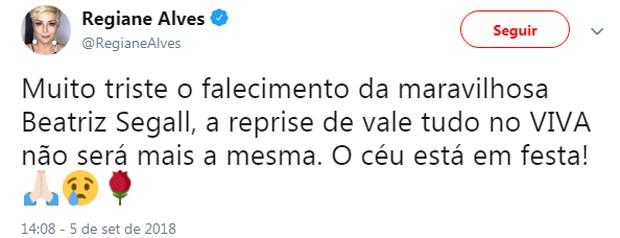 Famosos lamentam morte de Beatriz Segall (Foto: Reprodução/Twitter)
