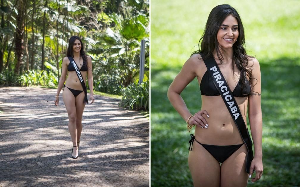 A miss Piracicaba, Francine Hellen de Almeida Alves, de 24 anos, é personal trainer — Foto: Fábio Tito/G1