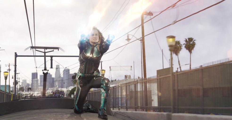 Brie Larson em cena de 'Capitã Marvel' — Foto: Divulgação
