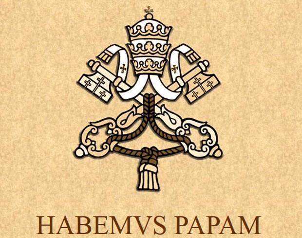 Brasão no site do Vaticano foi trocado, anunciando o consenso do conclave e a escolha do novo papa (Foto: Reprodução)