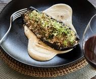 Receita de berinjela assada com cuscuz de couve-flor