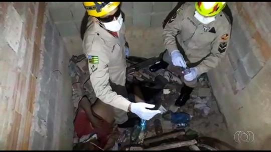 Idoso é resgatado 4 dias após cair no fosso de elevador de prédio inacabado em Goiás; vídeo