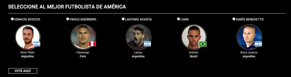 Luan e Guerrero entre os candidatos de Melhor das Américas (Foto: Reprodução)