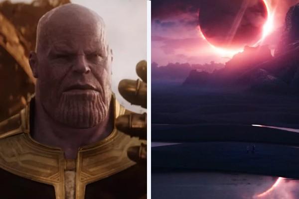 À esquerda, o vilão Thanos (Josh Brolin); à direita, o planeta Vormir em Vingadores: Guerra Infinita (2018) (Foto: Divulgação)