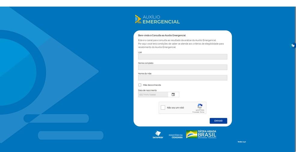 Site é simples de usar e precisa de apenas alguns dados do requerente — Foto: Reprodução/Filipe Garrett