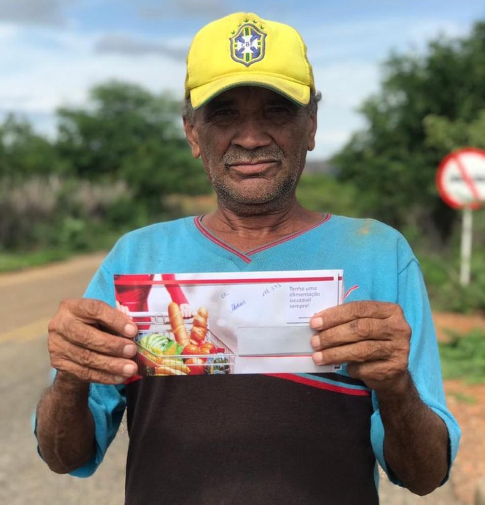Cartão de auxilia alimentação disponibilizado pelo Projeto Veredas para comunidades da Serra da Capivara no Piauí — Foto: Divulgação Projeto Veredas