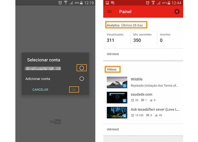 Acesse o app com sua conta do YouTube e observe o resumo do painel (Foto: Reprodução/Barbara Mannara)