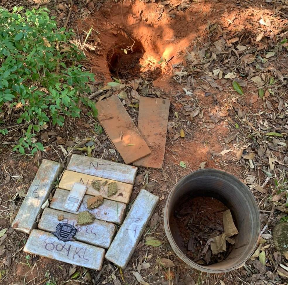 Com ajuda de cão farejador, polícias encontraram seis tabletes de maconha  dentro de um balde em Avaré (SP) — Foto: Polícia Civil/ Divulgação