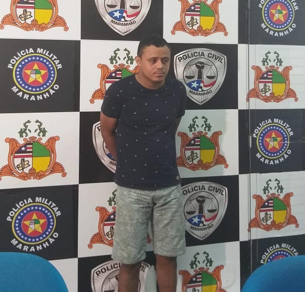 Soldado Túlio de Pádua Santos Ribeiro foi apresentado na sede da Secretaria de Segurança Pública no Maranhão — Foto: Ádria Rodrigues/TV Mirante