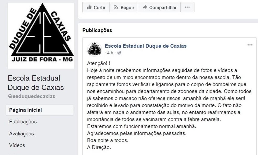 -  Nota oficial publicada no Facebook com comunicado sobre providências após macaco ser encontrado morto na instituição  Foto: Reprodução/Facebook