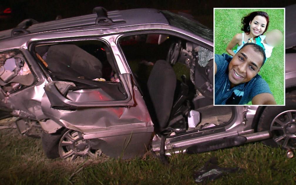 Juliana Alves morreu no acidente grave na Rodovia dos Imigrantes; o marido Wesley e o filho de um ano ficaram feridos (Foto: TV Globo/Reprodução)