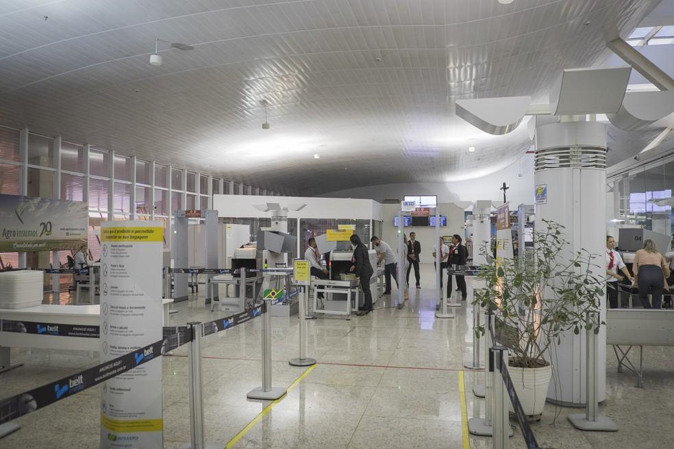 Aeroporto Marechal Rondon: reformas de setor de embarque e desembarque já foram concluídas (Foto: Gcom-MT)