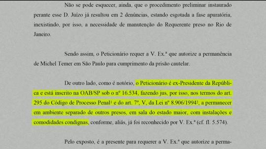 TRF2 permite que Michel Temer e Coronel Lima fiquem presos em São Paulo