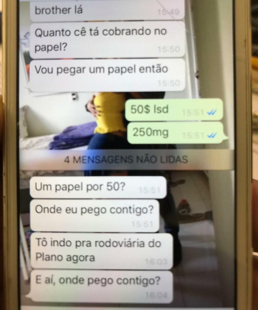 Polícia tirou print da negociação para a venda de drogas — Foto: PCDF / Divulgação
