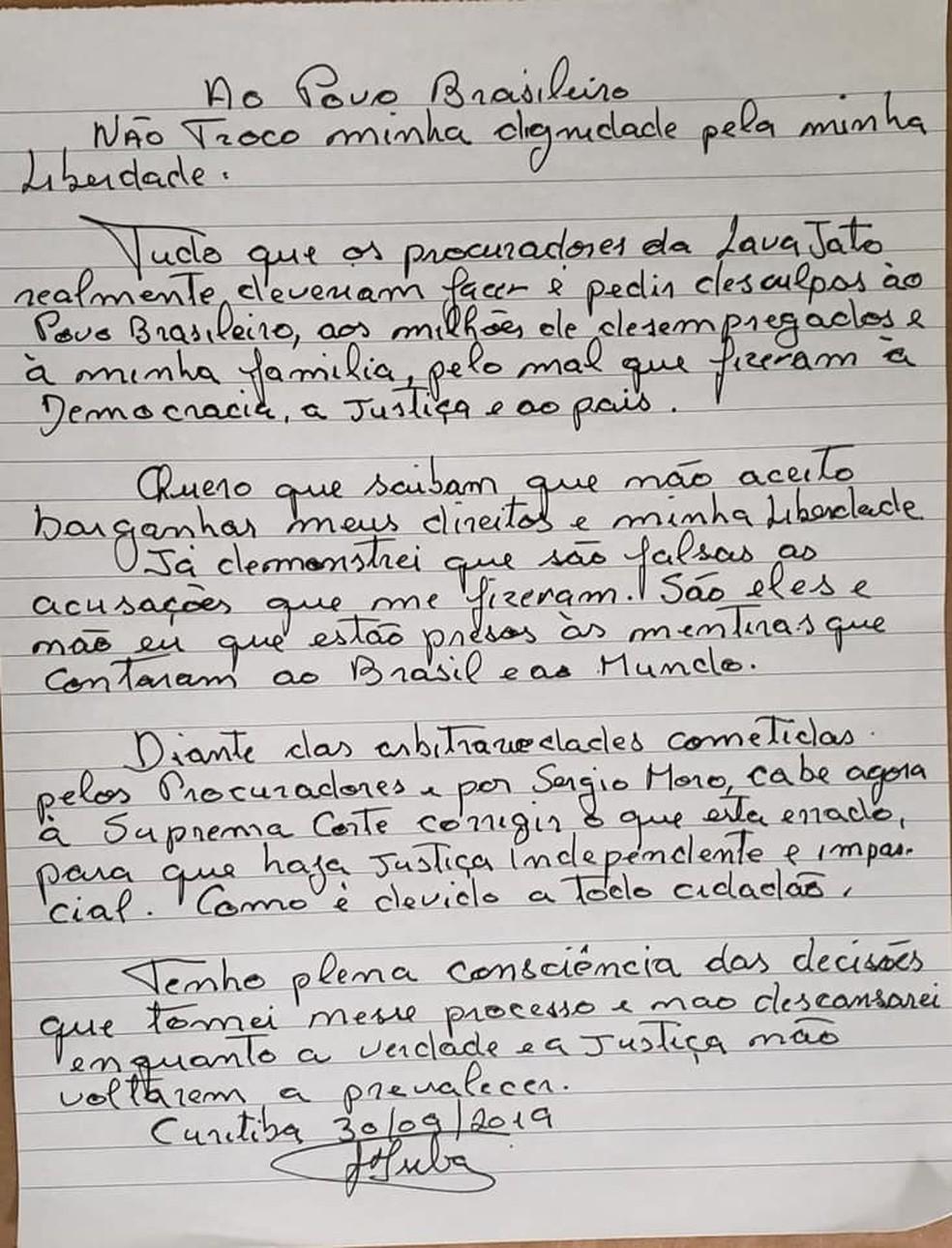 Carta de Lula sobre o pedido do MPF para que ele progrida de regime — Foto: Reprodução/Facebook