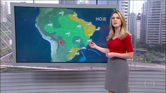 O risco é de temporal para Goiás, Minas, Rio de Janeiro e Espírito Santo