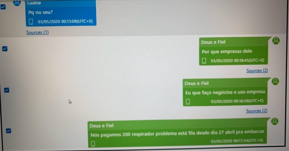 Troca de mensagens entre o vereador Davi Vermelho e a namorada Luana que consta da denúncia do MP de Santa Catarina — Foto: Reprodução