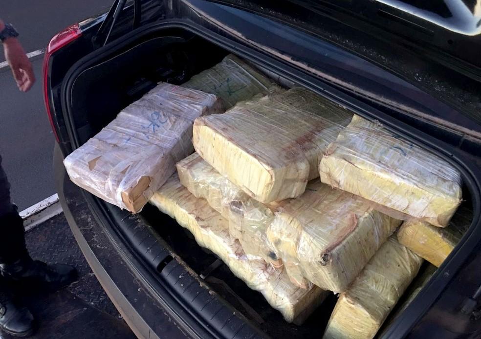 Segundo a polícia, os 330 quilos de maconha seriam levados até o aeroporto de Viracopos, em Campinas — Foto: Polícia Rodoviária/Divulgação