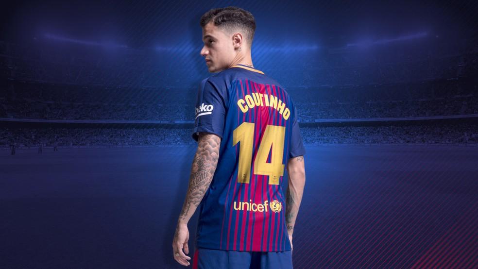 117c4bda772ad Philippe Coutinho ganha a camisa 14 no Barcelona (Foto  Divulgação  FC  Barcelona)