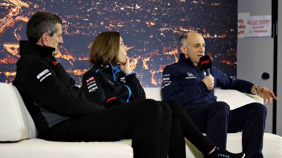 Gunther Steiner, Claire Williams e Franz Tost, chefes de Haas, Williams, e Alpha Tauri — Foto: Getty Images