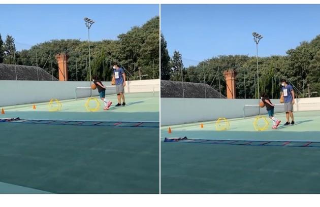 Stefano, outro filho de Mion e Suzana, exercita-se na quadra de tênis (Foto: Reprodução)