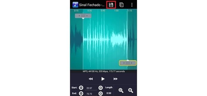 Destaque para botão Save as, que permite salvar edições no áudio (Foto: Reprodução/Raquel Freire)