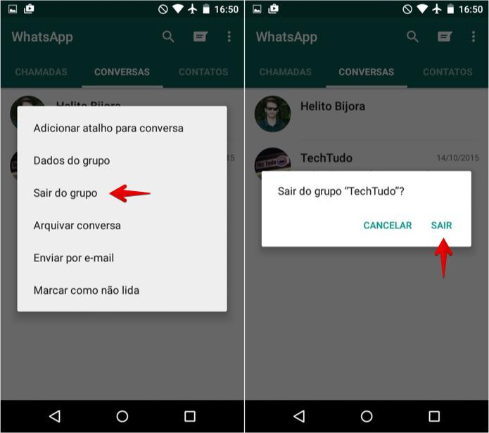 Saindo de um grupo no WhatsApp para Android (Foto: Reprodução/Helito Bijora)  (Foto: Saindo de um grupo no WhatsApp para Android (Foto: Reprodução/Helito Bijora) )