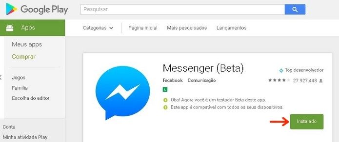 Página do Messenger na Play Store após ingresso no programa Beta (Foto: Reprodução/Raquel Freire)