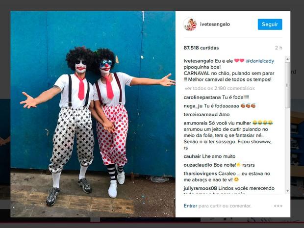 Ivete Sangalo e Daniel Cady curtiram a festa juntos na pipoca (Foto: Reprodução/Instagram )