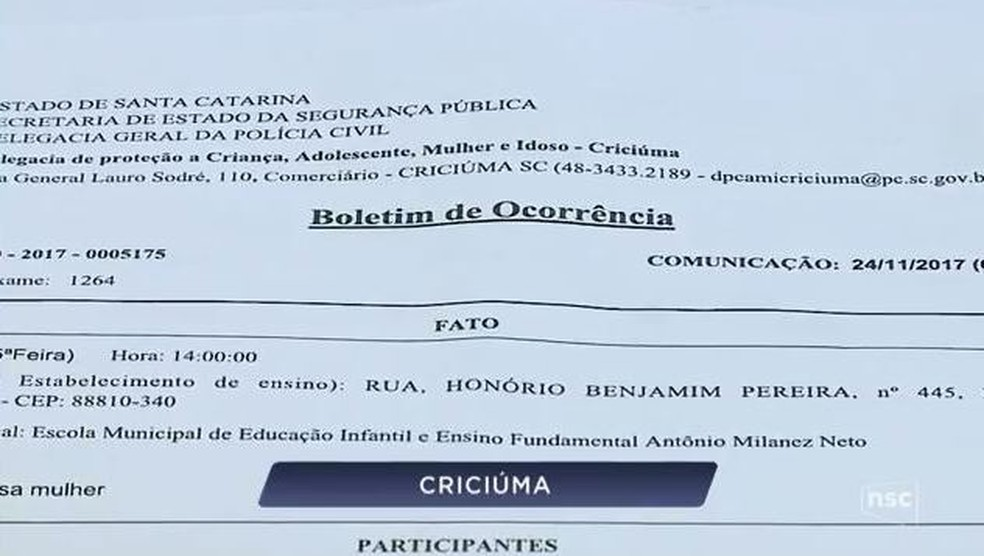 Ela registrou boletim de ocorrência na Polícia Civil (Foto: Reprodução NSC TV)