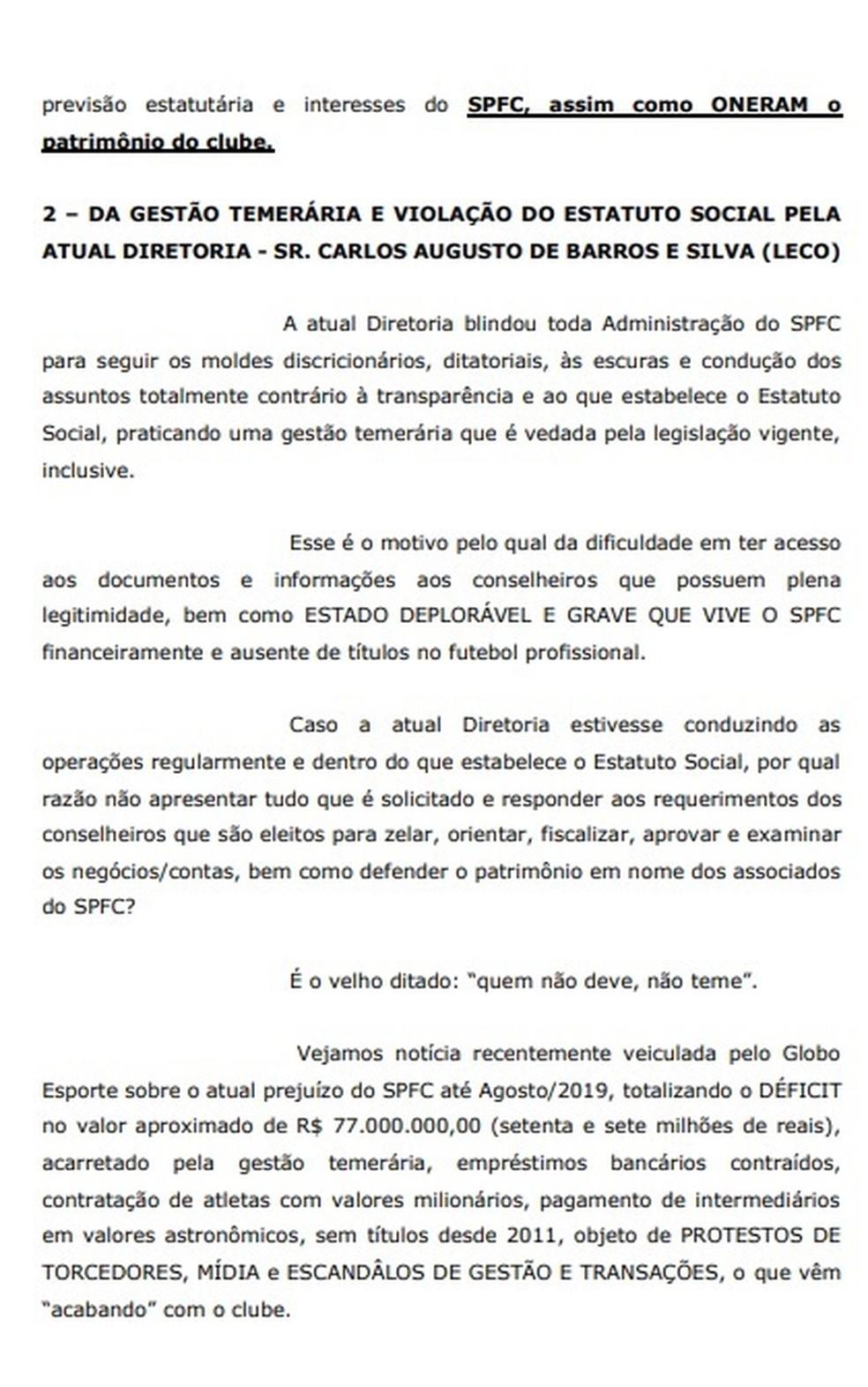 Pedido de impeachment ao presidente Leco, do São Paulo  — Foto: GloboEsporte.com