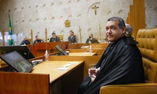 O ministro do STF Kassio Nunes Marques durante sessão solene de posse no STF em novembro de 2020