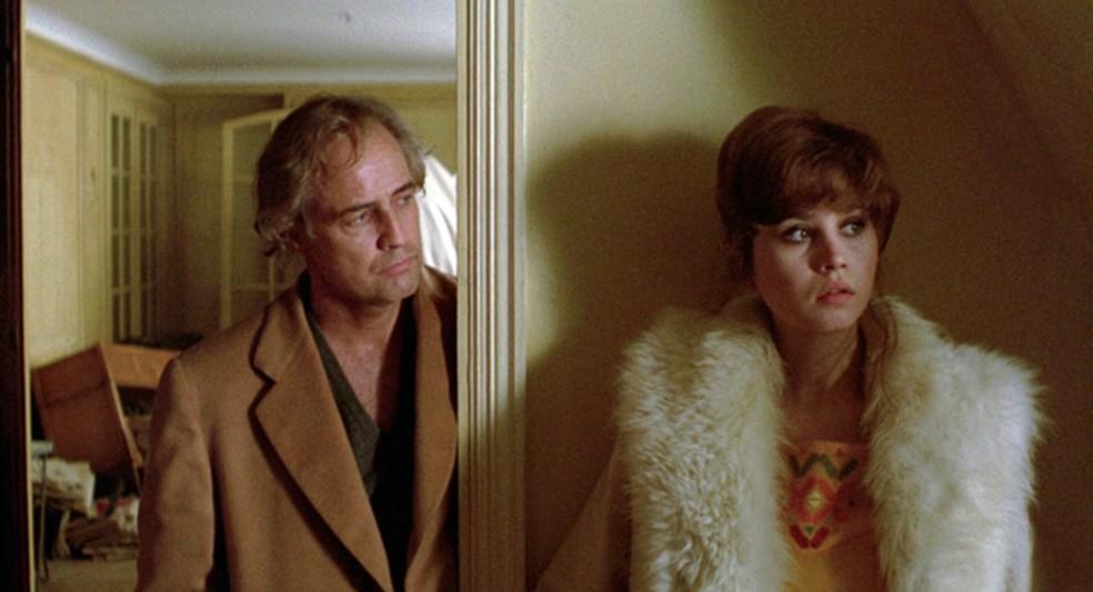 Marlon Brando e Maria Schneider em 'O último tango em Paris'  — Foto: Reprodução