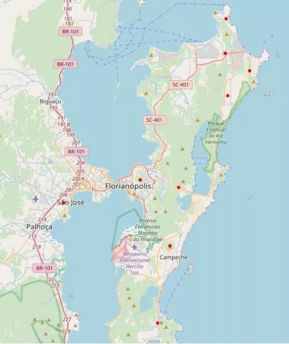 Pontos vermelhos do mapa indicam localização das retransmissoras da NSC TV  (Foto: NSC TV)