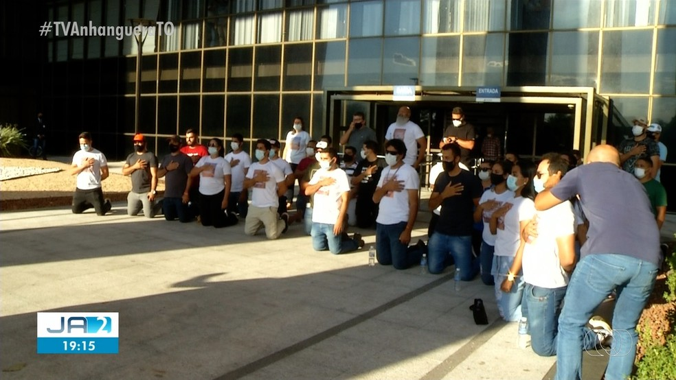 Manifestantes protestaram após a aprovação do projeto de concessão do Jalapão — Foto: Reprodução/TV Anhanguera