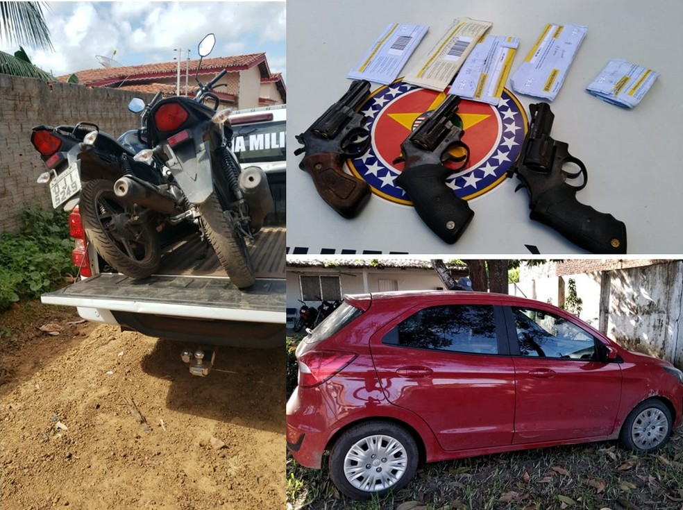 Motos, armas e carro apreendido pela polícia com os acusados de matar vigilante após assalto em Viana — Foto: Divulgação/Polícia Militar