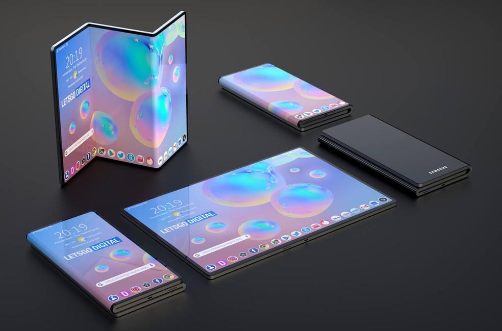 Samsung apresenta conceito de celulares dobráveis em novos formatos — Foto: Reprodução/LetsGoDigital