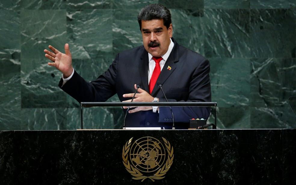 O presidente da Venezuela, Nicolás Maduro, durante discurso na 73ª Assembleia Geral da ONU, em Nova York — Foto: Reuters/Eduardo Muñoz