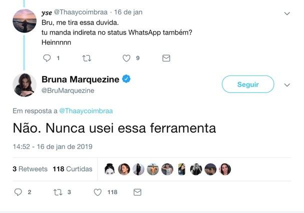 Bruna Marquezine conversa com fãs no Twitter (Foto: Reprodução)