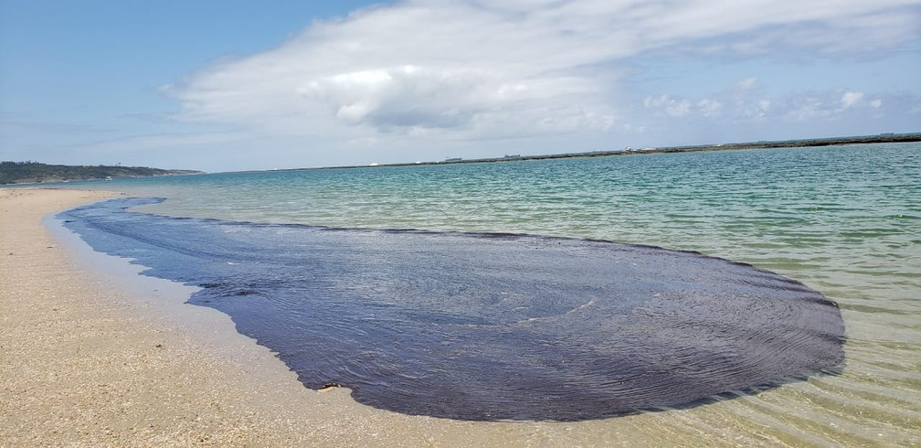 Mancha de óleo encontrada neste domingo (20) em Suape, no Cabo de Santo Agostinho — Foto: Salve Maracaípe/Reprodução/WhatsApp