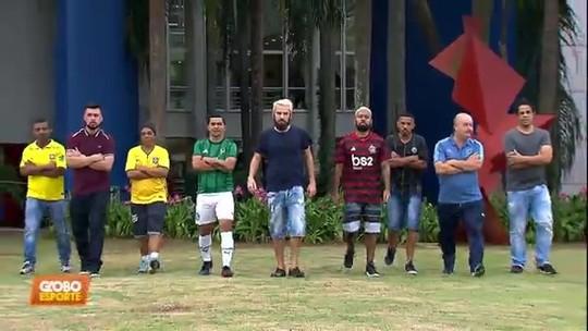 """O maior rolê aleatório: Cartolouco leva Edilson e sósias de jogadores para ver Dérbi em """"busão-balada"""""""