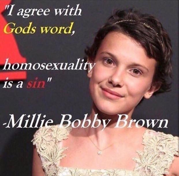 Millie Bobby Brown é alvo de montagens homofóbicas na web (Foto: Reprodução)