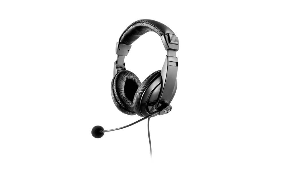 Opção tem design mais sério, conexão via cabo e microfone flexível — Foto: Divulgação/Multilaser