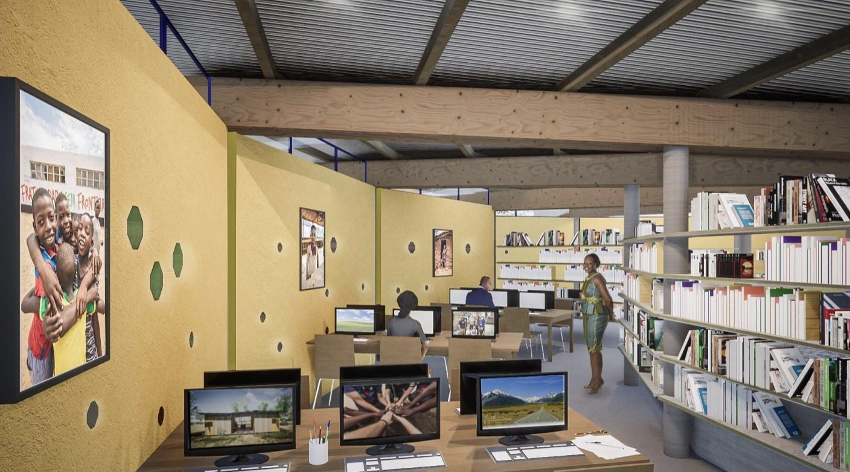 Perspectiva interna da biblioteca da Nação Ubuntu no Malawi (Foto: ASF / Divulgação)