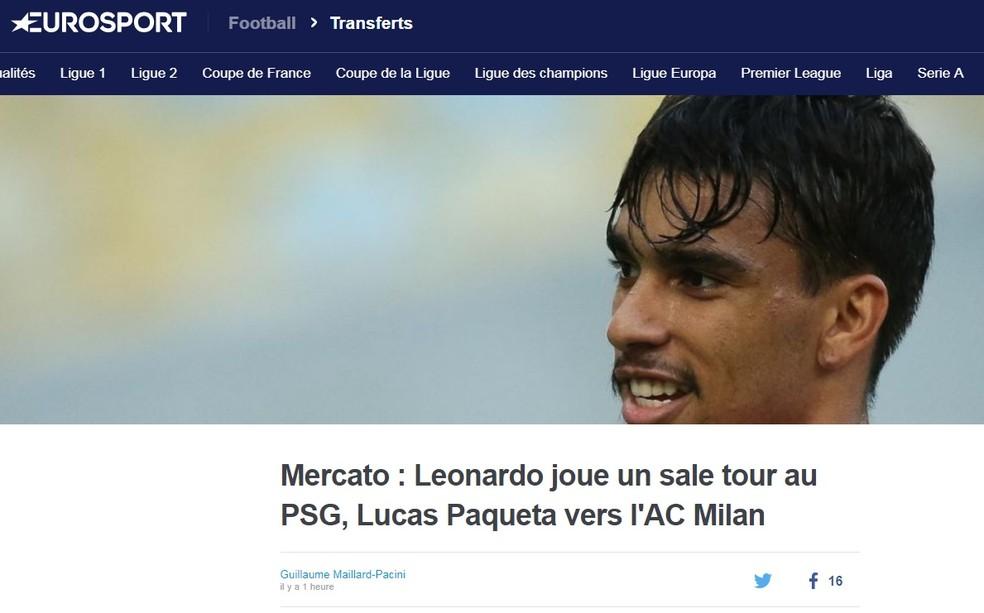 """Eurosport: """"jogo sujo"""" de Leonardo — Foto: Reprodução/Eurosport"""