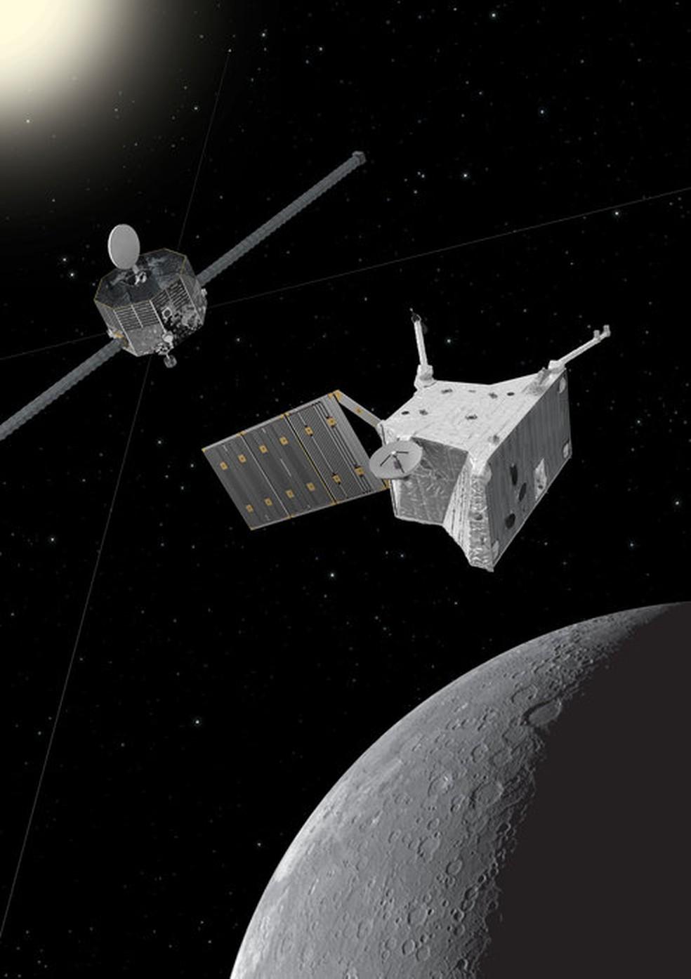 Sonda BepiColombo em Mercúrio — Foto: ESA