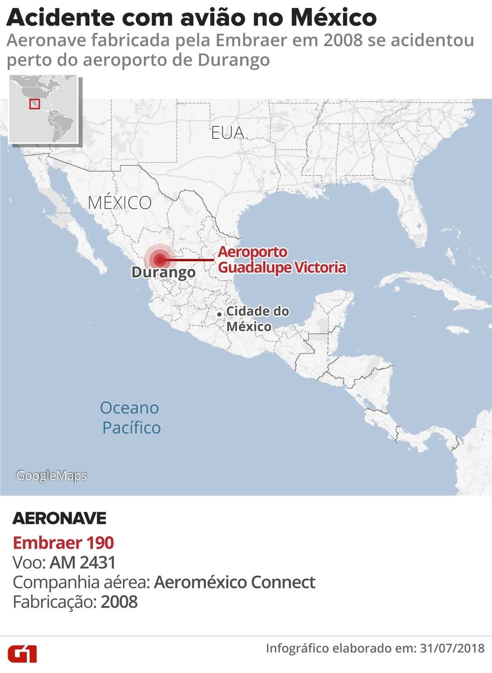 Acidente Aeroméxico (Foto: Arte/G1)