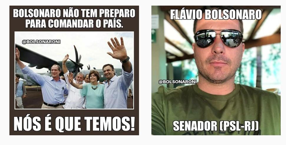 Post do perfil @bolsonaroNI